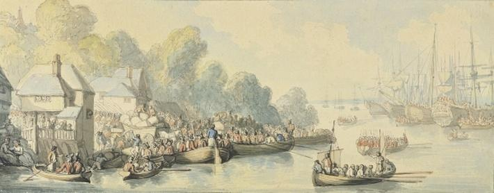Embarkation at Southampton on 20th June after Lord Howe's Action - Version B, c.1794