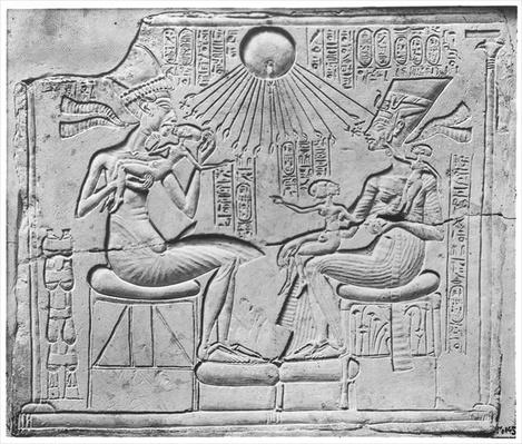 Relief depicting the Aten giving life and prosperity to Amenophis IV