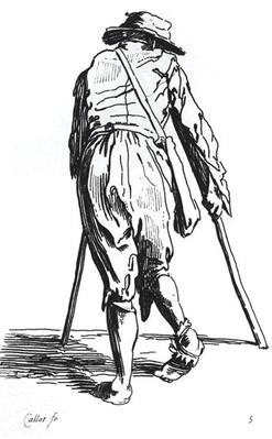 Beggar on his crutches, from behind