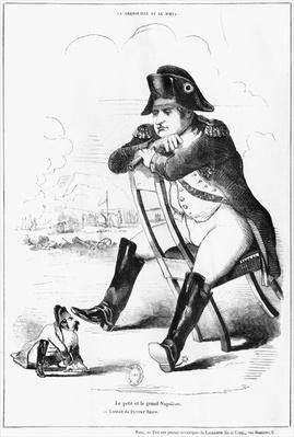 La Grenouille et le Boeuf : The Small and the Large Napoleon I, caricature from 'The Puppet Show'