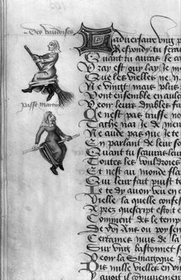 Ms Fr 12476 fol.105v Two witches from 'Le Champion des Dames' by Martin le Franc