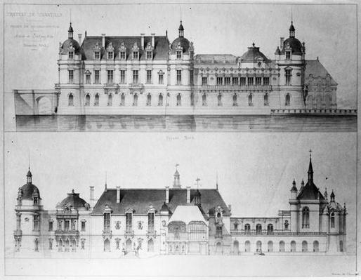 Design for the reconstruction of the north facade and the facade of the Petit Chateau of the Chateau de Chantilly, 1875
