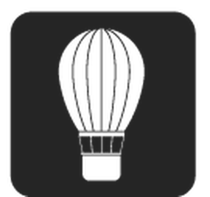 Travel and Transportation - Black & White - Hot-Air Balloon | Clipart