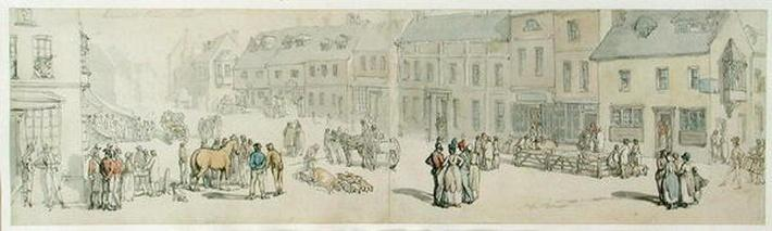 The High Street on Market day, Newport, Isle of Wight, c.1797-1800