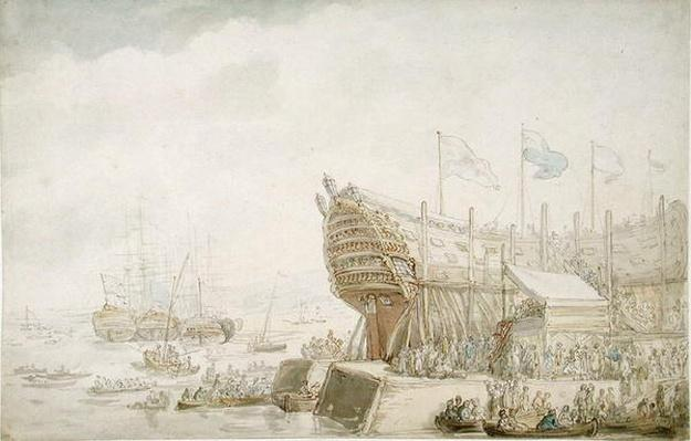 The Launching of H.M.S. 'Hibernia' at Devonport, c.1804