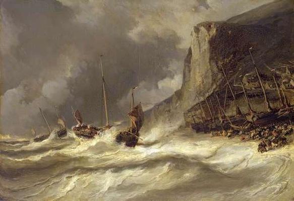 Storm on the Coast at Etretat, Normandy, 1851