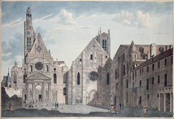 Facades of the Churches of St. Genevieve and St. Etienne du Mont, Paris, c.1800