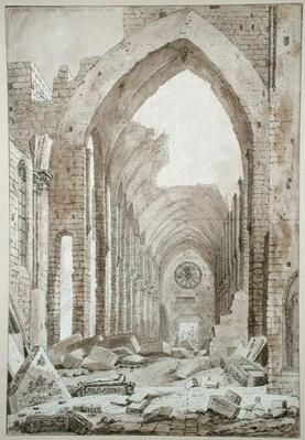Demolition of the Old Church of St. Genevieve, Paris, 1807
