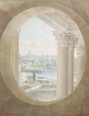 View of the Pont Neuf from a Bull's Eye Window of the Louvre, 1810