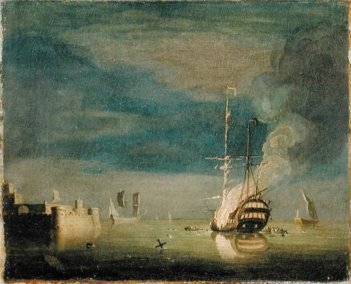 A Two-Decker on Fire at Night off a Fort, c.1740