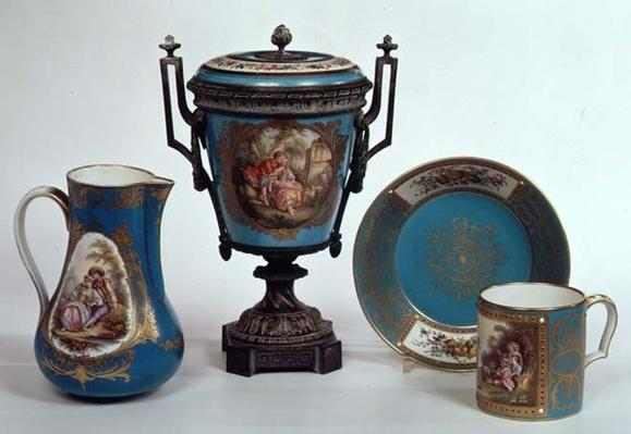 Sevres blue celeste jug, mug, urn and plate, all early 18th century