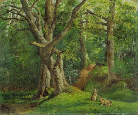 Woodland Scene with Rabbits, 1862