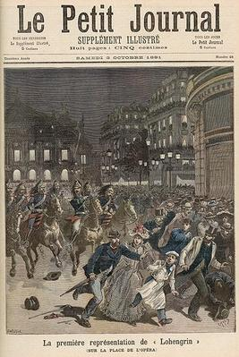 Riots in Paris objecting to the Performance of 'Lohengrin' at the Palais Garnier, from 'Le Petit Journal', 3rd October 1891