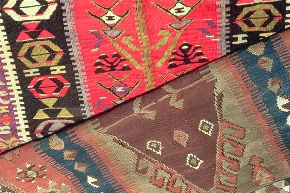 Detail of two prayer rugs