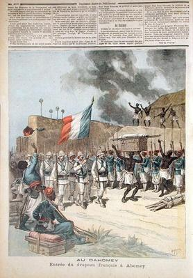 The French Flag Entering Abomey, from 'Le Petit Journal', 10th December 1892 by Meyer, Henri (1844-99)