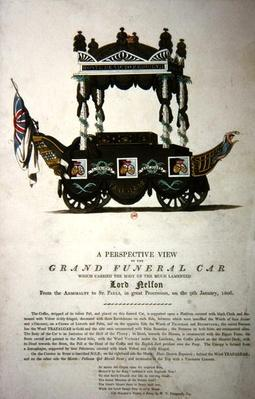 A perspective view of the grand funeral car that carried the body of Lord Nelson from The Admiralty to St. Paul's Cathedral on 9th January 1806