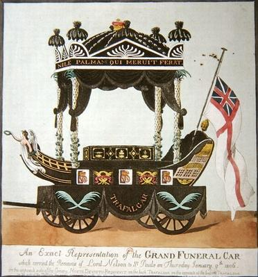 An exact representation of the grand funeral car that carried the body of Lord Nelson from The Admiralty to St. Paul's Cathedral on 9th January 1806