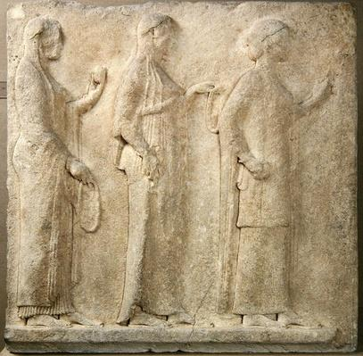 The Three Graces, relief from the Passage of the Theores, from Thasos, c.470 BC