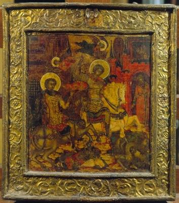 Icon depicting St. George and St. Demetrius, c.1676