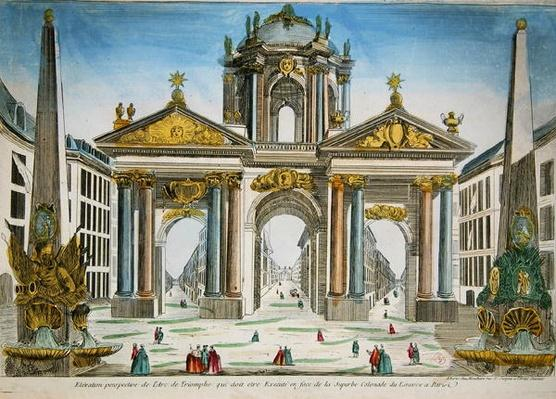 Design for a triumphal arch opposite the colonnade of the Louvre