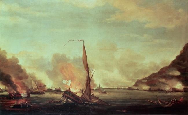 Destruction of the floating batteries at Gibraltar, 13th September 1782, 1782