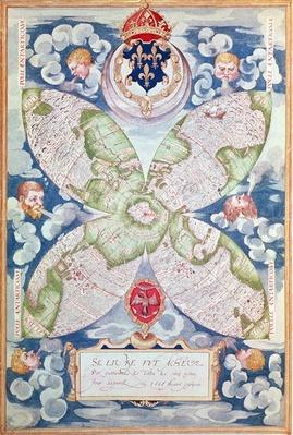 Fol.7v Map of the North Pole, from 'Cosmographie Universelle', 1555