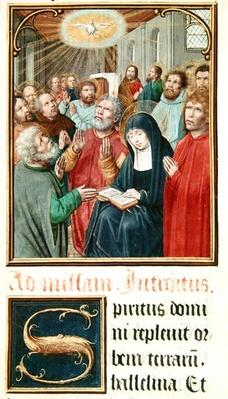 Ms 60 fol.37r Pentecost, from a collection of collects of Odoart de Bersacques, Prevost of Saint-Omer