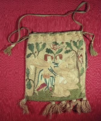 Alms purse depicting a hunter's return