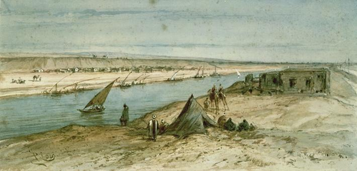 The Suez Canal, from a souvenir album commemorating the Voyage of Empress Eugenie