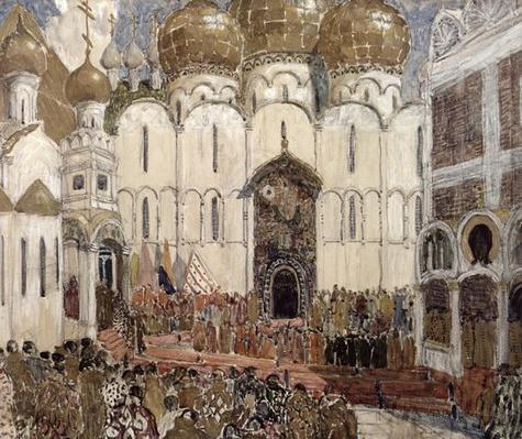 A Square in the Moscow Kremlin', stage design for the Prologue, Scene 2 from the opera 'Boris Godunov' by Modest Petrovich Mussorgsky, 1908