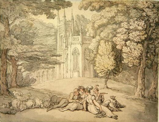 A college green with a group of damsels and young gentlemen in the foreground, c.1810-15