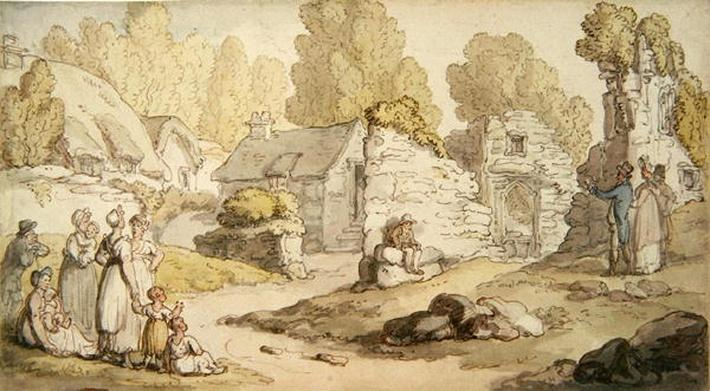 A Village Scene with Figures and Ruined Buildings