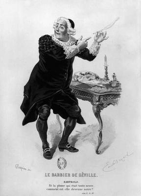 Bartholo, illustration from Act II Scene 11 of 'The Barber of Seville' by Pierre Augustin Caron de Beaumarchais