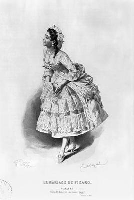 Suzanne, illustration from Act II Scene 17 of 'The Marriage of Figaro' by Pierre Augustin Caron de Beaumarchais