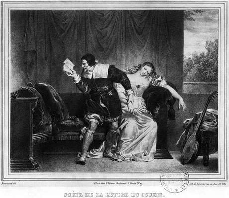 Scene of the cousin's letter, illustration from 'The Barber of Seville' by Pierre Augustin Caron de Beaumarchais