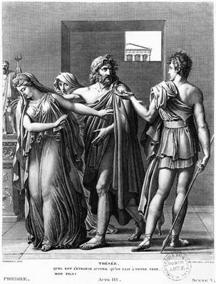 Phaedra, Theseus and Hippolytus, illustration from Act III Scene 5 of 'Phedre' by Jean Racine