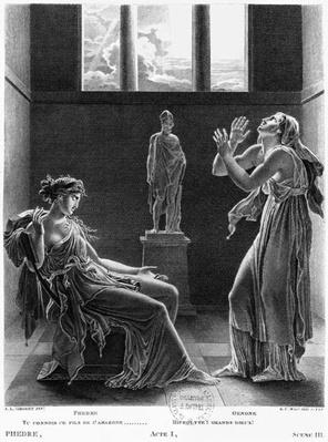Phaedra and Oenone, illustration from Act I Scene 3 of 'Phedre' by Jean Racine