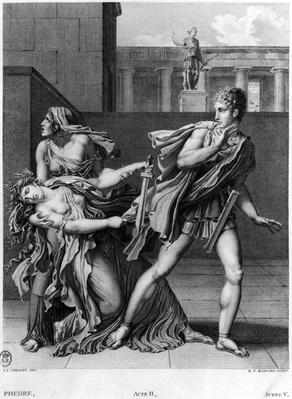 Phaedra, Oenone and Hippolytus, illustration from Act II Scene 5 of 'Phedre' by Jean Racine