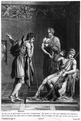 Orestes and Pyrrhus, illustration from Act I Scene 2 of 'Andromaque' by Jean Racine
