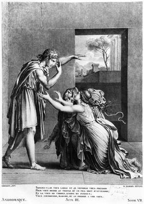 Andromache at the feet of Pyrrhus, illustration from Act III Scene 7 of 'Andromaque' by Jean Racine
