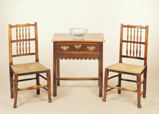 Side table and pair of spindle back chairs, Lancashire