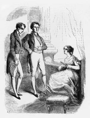 Rastignac introduced to Madame de Nucingen, illustration from 'Le Pere Goriot' by Honore de Balzac