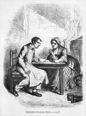 Christophe and the Fat Sylvie, illustration from 'Le Pere Goriot' by Honore de Balzac