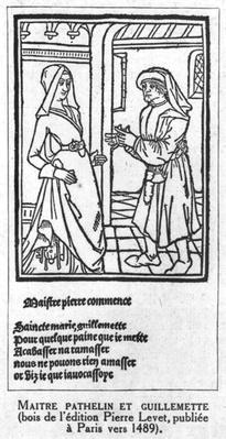 Maitre Pathelin and Guillemette, illustration from 'The Farce of Master Pathelin', c.1489
