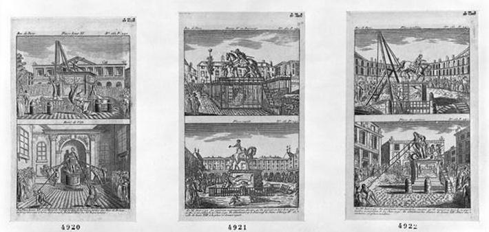 Six royal statues destroyed in Paris, 11th August 1792