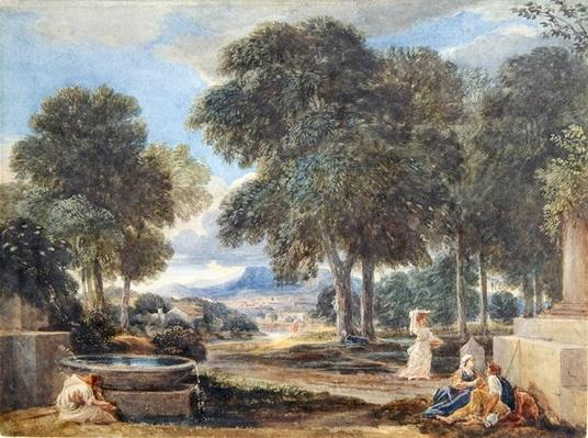 Landscape with a Man Washing his Feet at a Fountain, after Nicolas Poussin