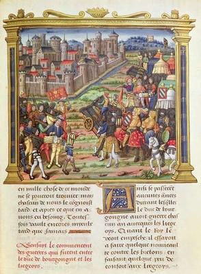 Ms 18 fol.36r War between Charles the Bold, Duke of Burgundy and Liege in 1467-68, from the Memoirs of Philippe of Commines