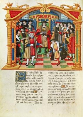 Ms 18 fol.99v Adolphe de Gueldres, from the Memoirs of Philippe of Commines