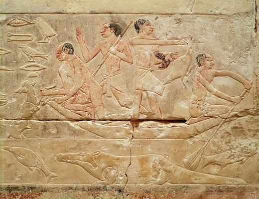 Relief depicting men in a boat, from the Tomb of Princess Idut, Old Kingdom, c.2330 BC