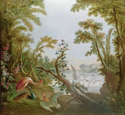 Lake with swans, a flamingo and various birds, from the salon of Gilles Demarteau, c.1750-65